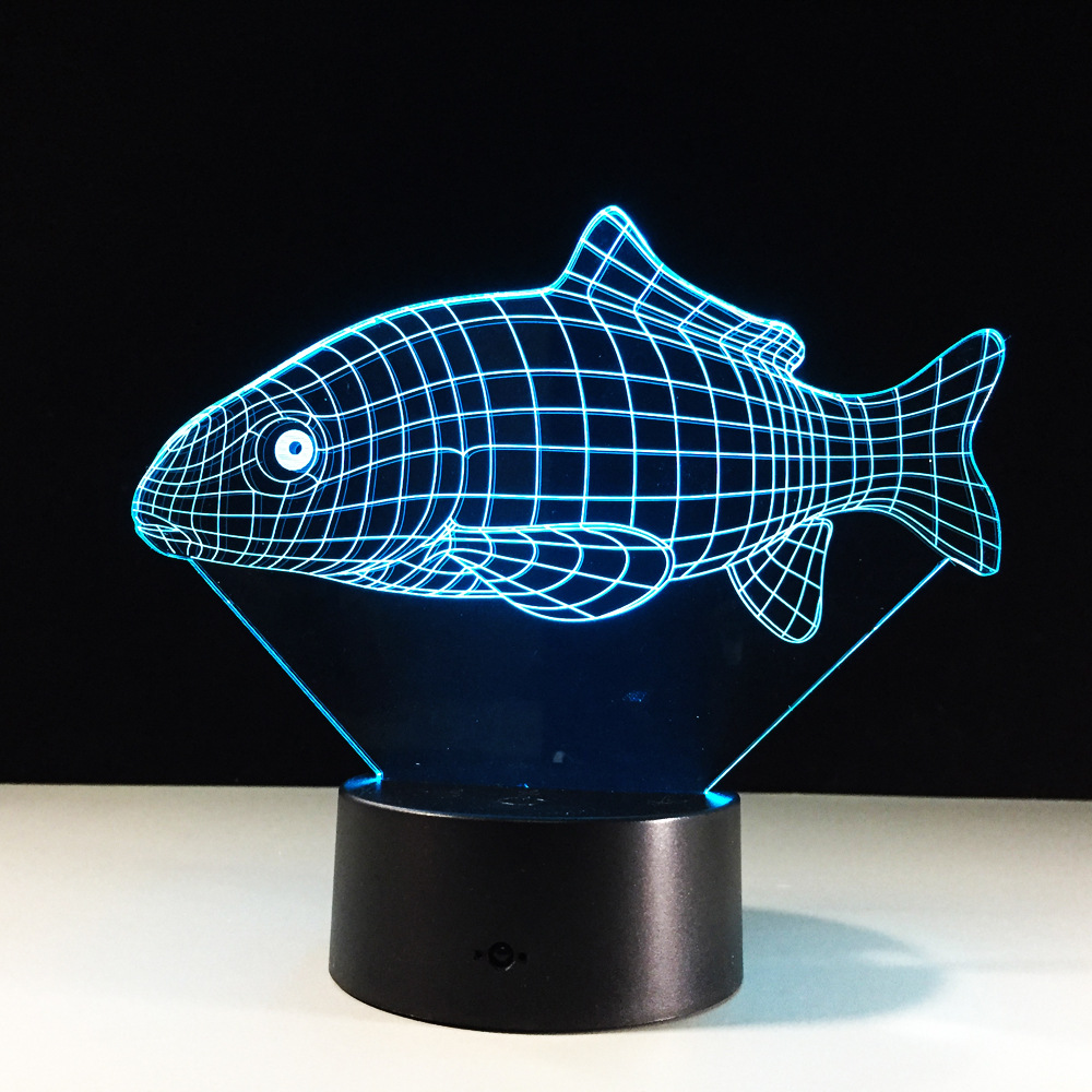 Creative 3D Fish Lamp LED Night Light Colorful 3D illusion Sleeping Lighting For Children Birthday Christmas Child Best Gift