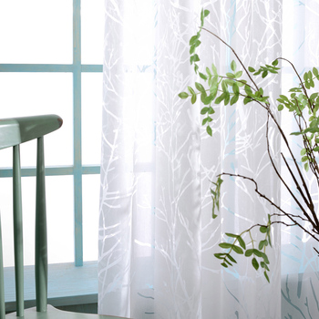 Custom curtain tulles  pastoral modern  white Branch tree window bedroom living room balcony burnout Yarn sheer tulle yarn M365