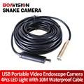 10 M Cable USB Serpiente Boroscopio Cámara de Inspección Tubo USB Cam 4LED Webcam fontaneros serpiente cámara de inspección de tuberías