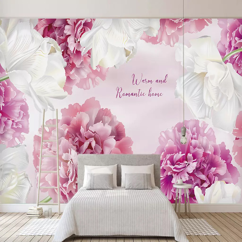 3d Wallpaper Modern Pink Flowers Murals Wedding House Background