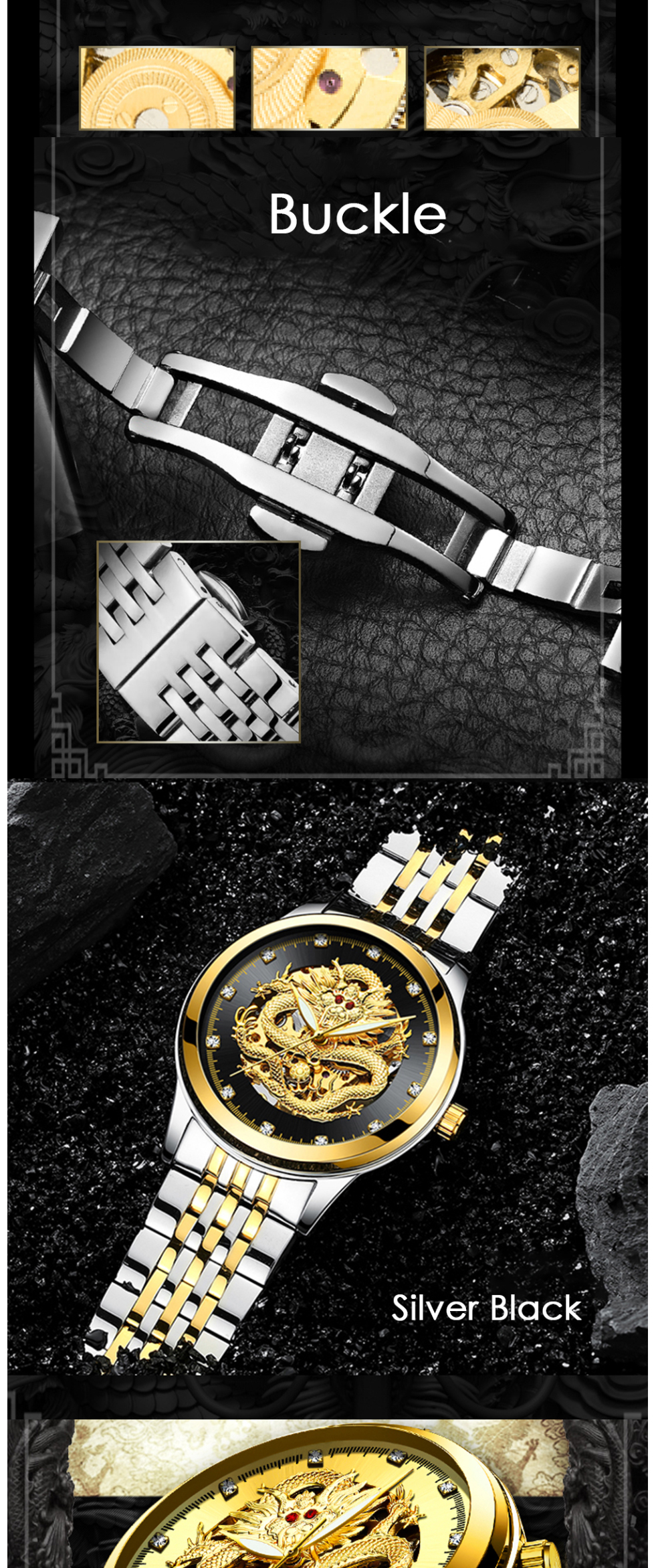 TEVISE Men Mechanical Watch Luxurious Automatic Winding Watches Waterproof Skeleton Hollow Gold Dragon Clock Relogio Masculino