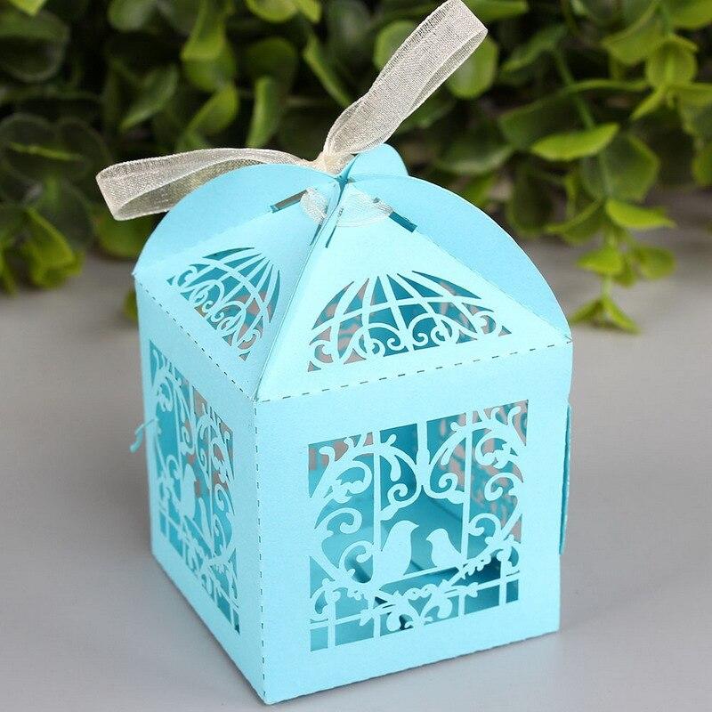 10 unids/lote love bird laser cut caramelo cajas de regalo con la cinta para el