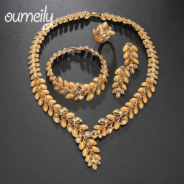 OUMEILY Bridal Jewelry Sets Indian Gold Color Women African Earring Set Luxury Nigerian