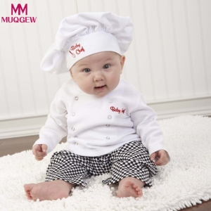 Chef Cosplay Outfits baby girl clothes newborn girl clothes Boys Chef Shirt Tops+Pants Cap Kids Clothes Set babykleding meisjes(China)