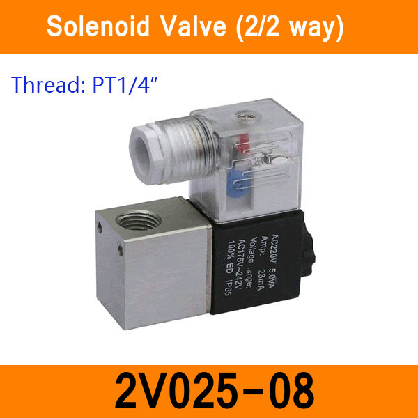 2V025-08 1/4 2 Position 2 Port 2 Way Air Solenoid Valves Pneumatic Control Valve DC12V DC24V AC36V AC110V AC220V