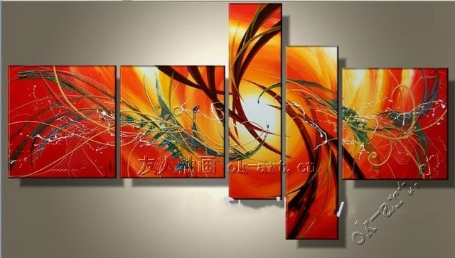 Handmade oil painting on canvas abstract art sale sunrise red painting christmas home decor wall art 5pcs/set wholesale