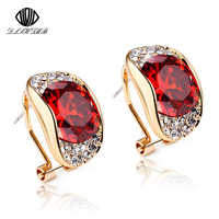 2017 New Fashion Brand Fine jewelry Red Round Crystal ear cuff Clip Earrings For Women Brincos boucle d'oreille