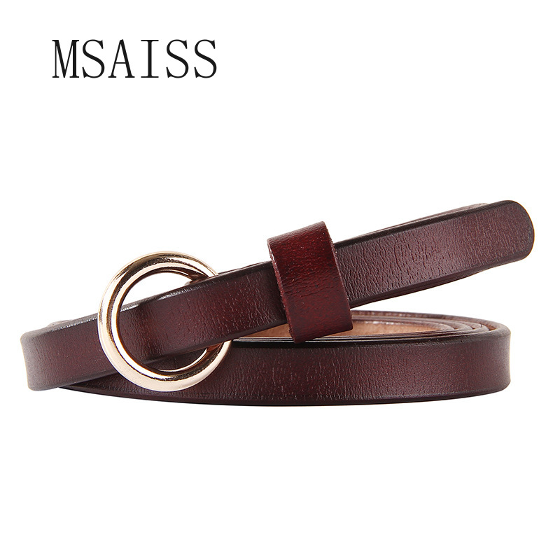 Circle Button Ladies Cowskin Leather Belt Red Luxury Women Leather Dress Accessory