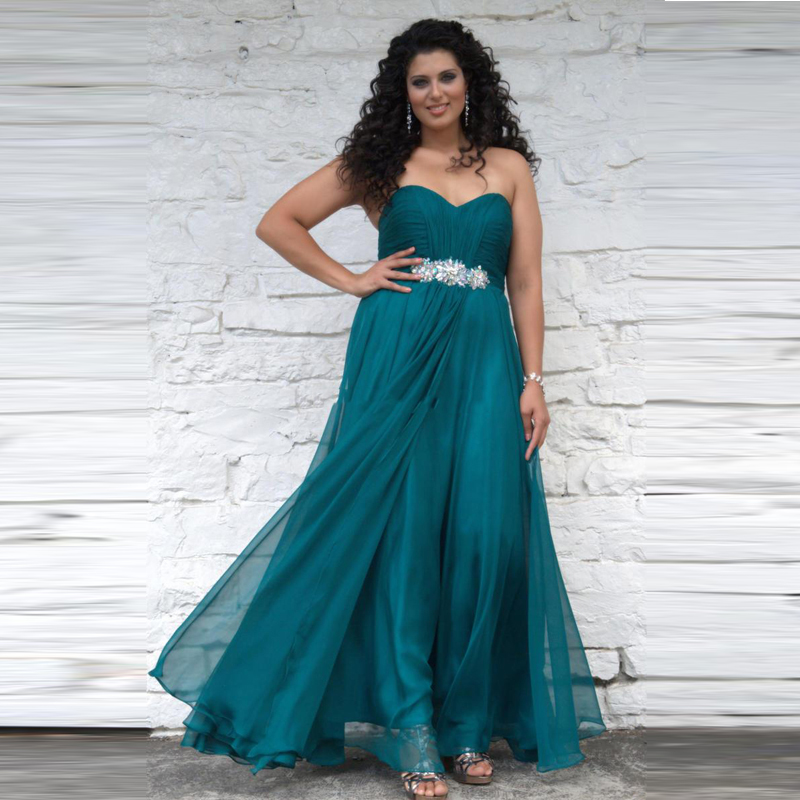 Elegant Teal Color Evening Dresses 2016 With Crystal Ruffles Chiffon ...
