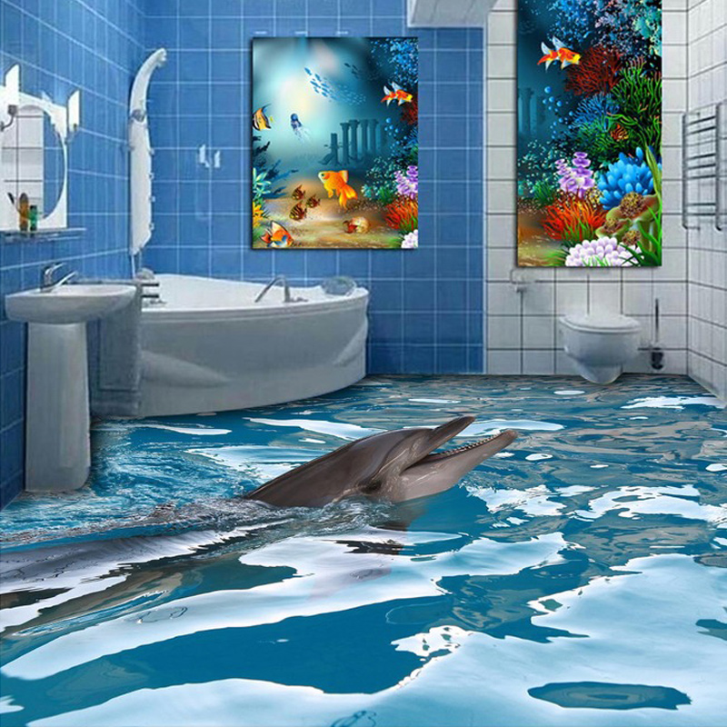 Aliexpress Com Buy Custom 3d Floor Wallpaper Ocean Dolphin Bathroom Floor Painting Wear Non Slip Thickened Self Adhesive Pvc Wall Stickers Mural From