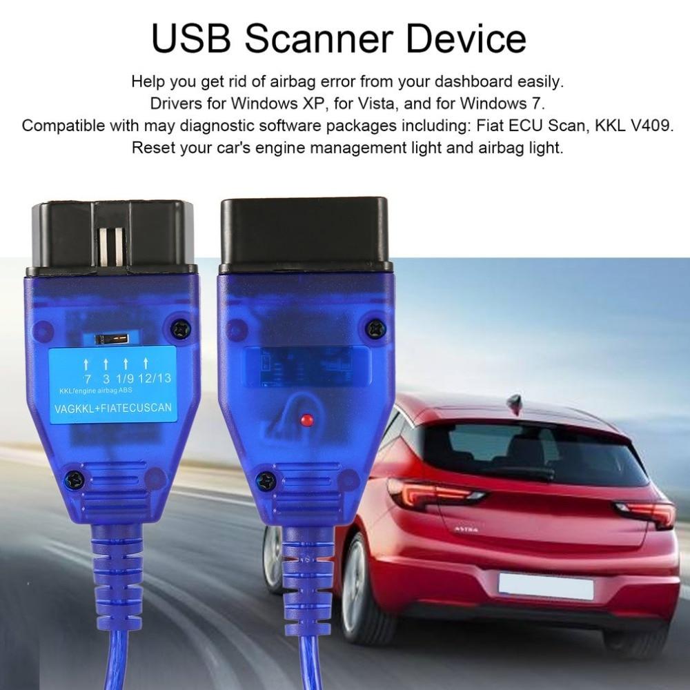 New Professional VAG KKL USB Interface 409+ ECU Scan OBD OBD2 Diagnostic Scanner Cable Tool for Cars Engine Airbag Adapter автосканер zip vag com kkl 409 1 374973