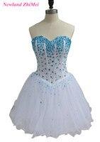 Красивые короткие кристаллы коктейльное платье 2017 Сексуальная Милая Кружево на спине Тюль Вечерние платья халат De коктейльное Mi Longue