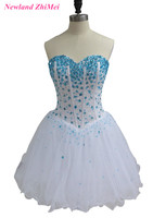 Piękne Short Kryształy Cocktail Dress 2017 Sexy Lace up Powrót Sweetheart Tulle Formalne Suknie robe de cocktail mi longue