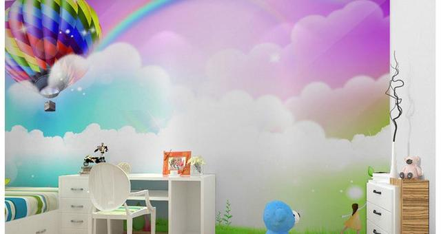 Behang Kinderkamer Regenboog : Custom 3d behang cartoon kinderkamer regenboog muurschildering