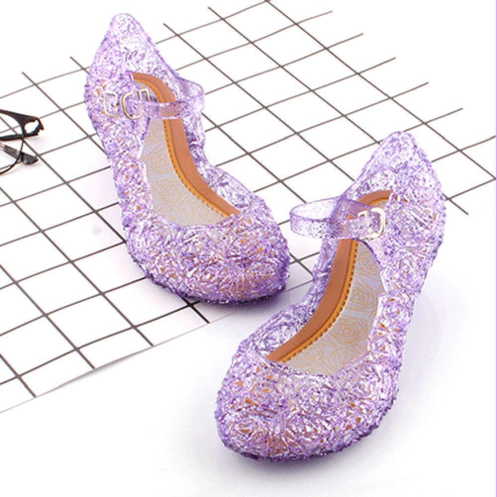 Детские сандалии с кристаллами для девочек, летние прозрачные босоножки для принцесс из прозрачного пластика, вечерние босоножки на высоком каблуке для девочек