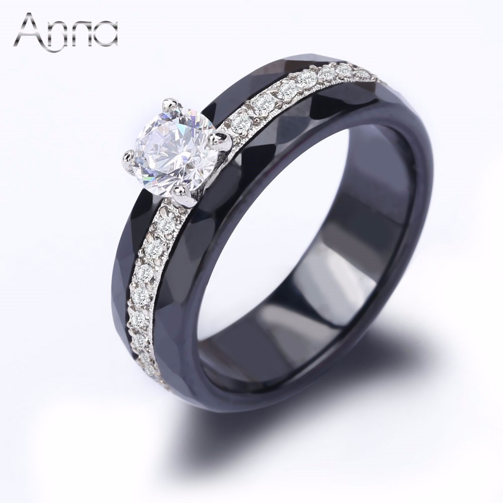 A N New Fashion Black White Ceramic Rings Big Cubic Zircon Inlaid Cabochon Rings For Women