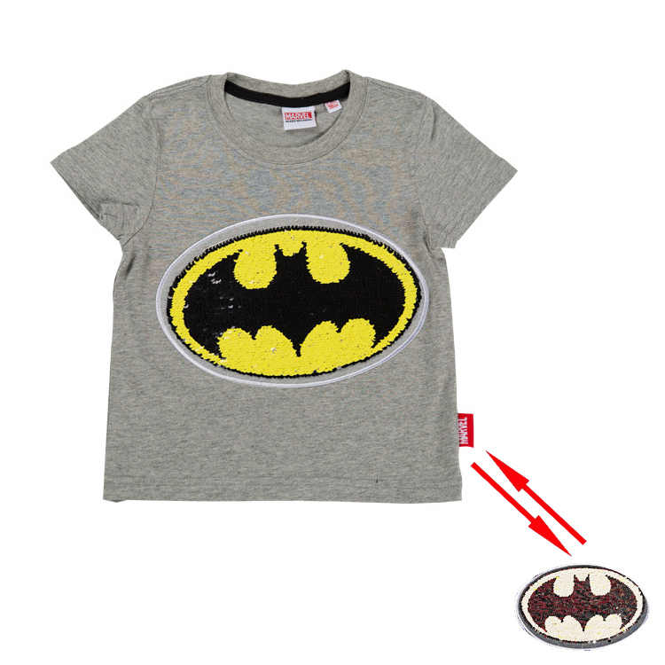 448725542 ... Summer cotton fashion spiderman batman super hero magic switchable sequin  boys tee shirt kid t shirt ...