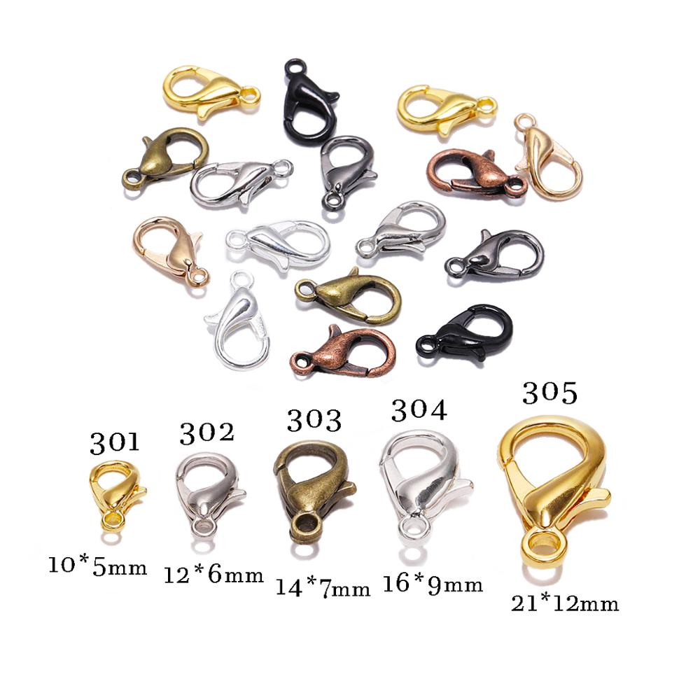 50pcs/lot 10 12 14 16mm Silver Gold Alloy Lobster Clasp Hooks Findings Connector For Jewelry Making DIY Necklace Chain Supplies
