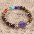 UMY Trendy Gold Plated Natural Amethyst Connect Tiger Eye Stone Chakra Bracelets For Women
