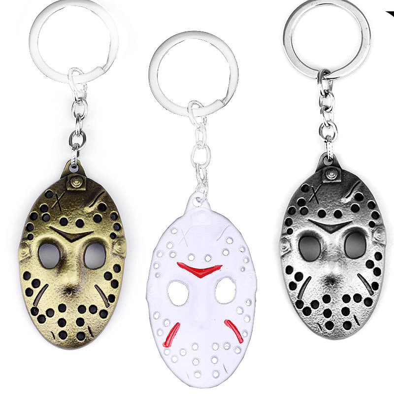 Popular Marvel Classic Movie Accessories Black Friday Mask Key Ring Pendant Ancient Bronze White