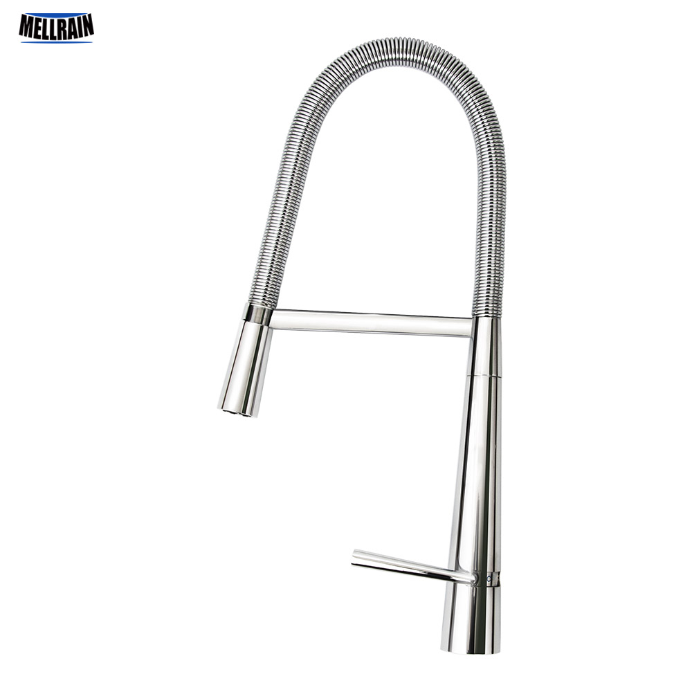 Deck Mounted Brass Pull Out Rotation Kitchen Faucet High Polishing Chrome Plated Mixer Sink Tap Fashion