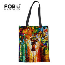FORUDESIGNS Shopping Bags Painting Travel Custom Reusable Handbag Women Shoulder Cloth Pouch Foldable Girl Olils Large Linen Bag(China)
