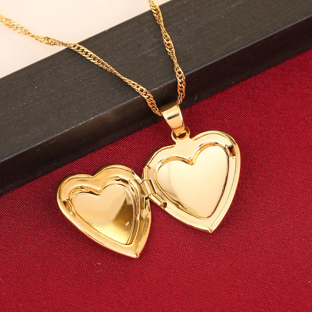 Image 5 - Heart allah pendant Jewelry For Women 24K Gold Color Muslim Heart