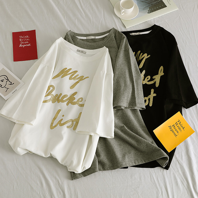 New Gold Letter Printed Tees O-Neck Loose Female 5