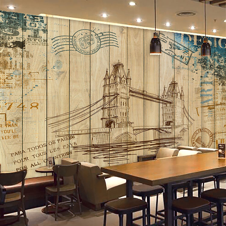 Custom photo wallpaper 3d retro wooden wall painting for Coffee shop mural