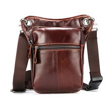 Bumbag Hip Belt Bag Bum Leg Bag Men Motorcycle Mini Satchel Waist Pack Cow Real Leather Fanny Pack Small Sac Sling Bags Heuptas fashion trend fanny pack for women 2019 leather waist bags belt bum leg belly hip purse mini small phone money bag