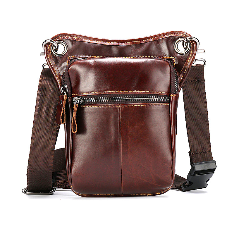 Bumbag Hip Belt Bag Bum Leg Bag Men Motorcycle Mini Satchel Waist Pack Cow Real Leather Fanny Pack Small Sac Sling Bags Heuptas