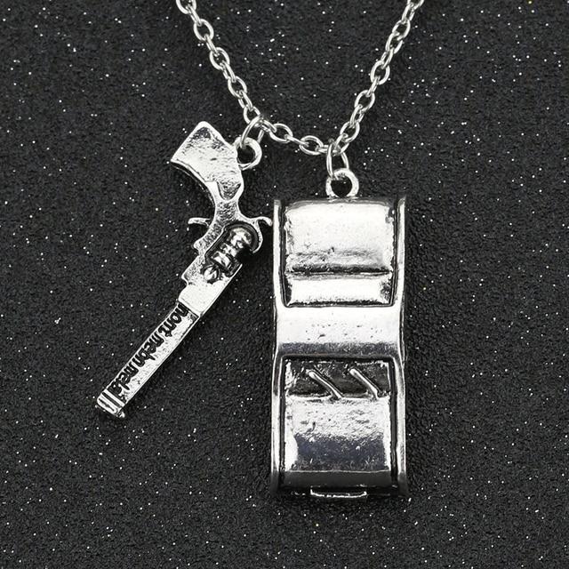 4bcf27b736c4 Supernatural Necklace Dean Winchester Colt Gun Sam Winchester Car Vintage  Retro Antique Silver Pendant Movie Jewelry