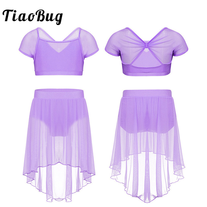 <font><b>TiaoBug</b></font> Kids Teens Mesh Splice Stage Lyrical Dance Costume Set Girls Ballet Tutu Skirt Gymnastics Shorts with Crop Top Dancewear image