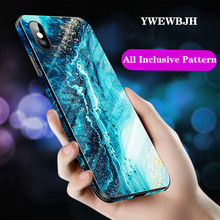 YWEWBJH Mobile phone shell abstract tempered glass painted protective cover For iPhone X 7 8 6 6S PLus XR XS Max Case