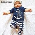Eaboutique 2017 nueva moda estilo navy & nube impreso baby boy clothes set bebes recién nacidos 2 unidades set