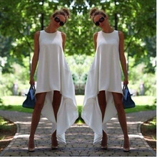 Women Summer Sleeveless Chiffon Dress Boho Long Maxi Dress Evening Party Beach Dresses Sundress Costume White Irregular Dress