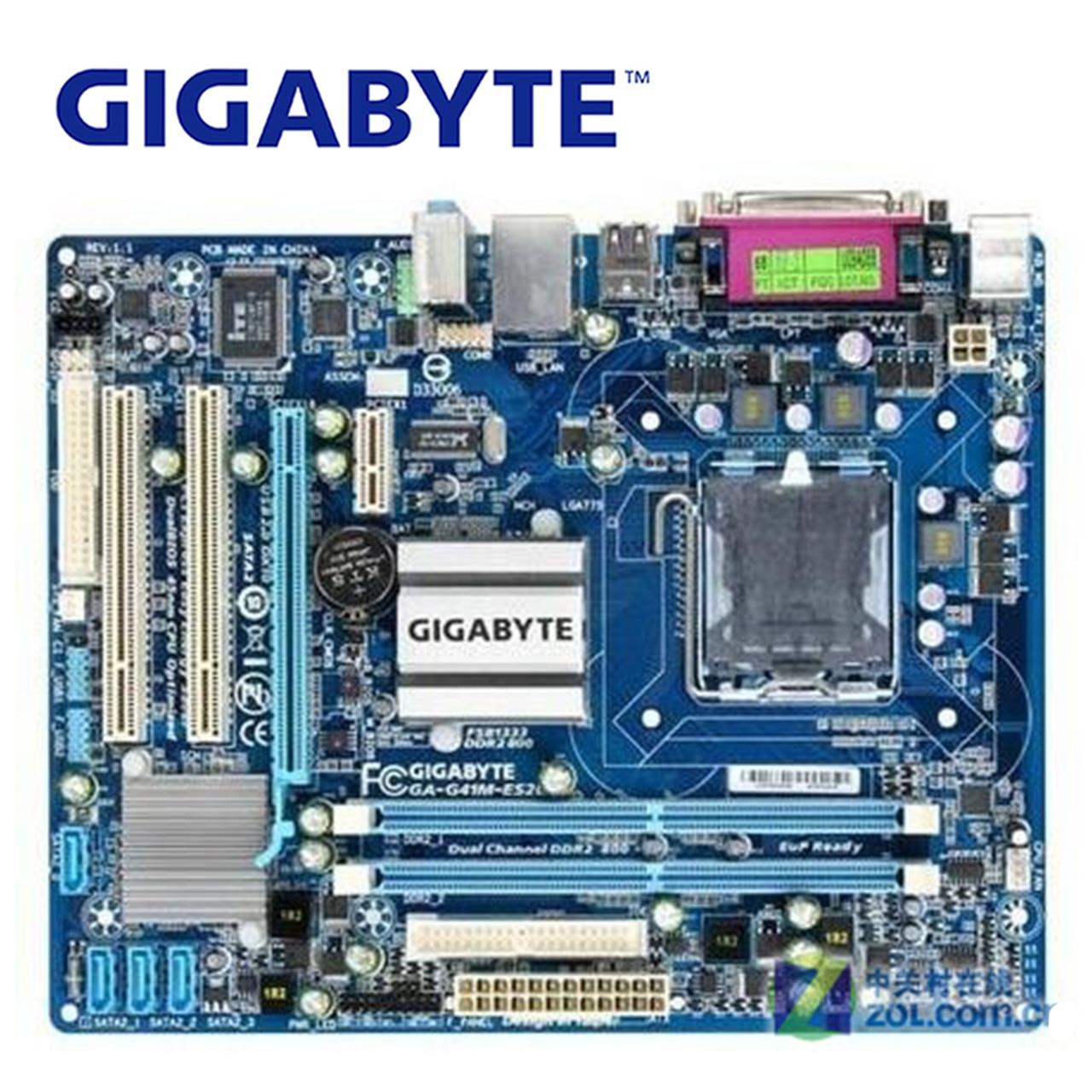 LGA 775 DDR2 For Intel Gigabyte GA-G41M-ES2L 100% Original Motherboard G41 G41M-ES2L Desktop Mainboard SATA 2 Systemboard Used