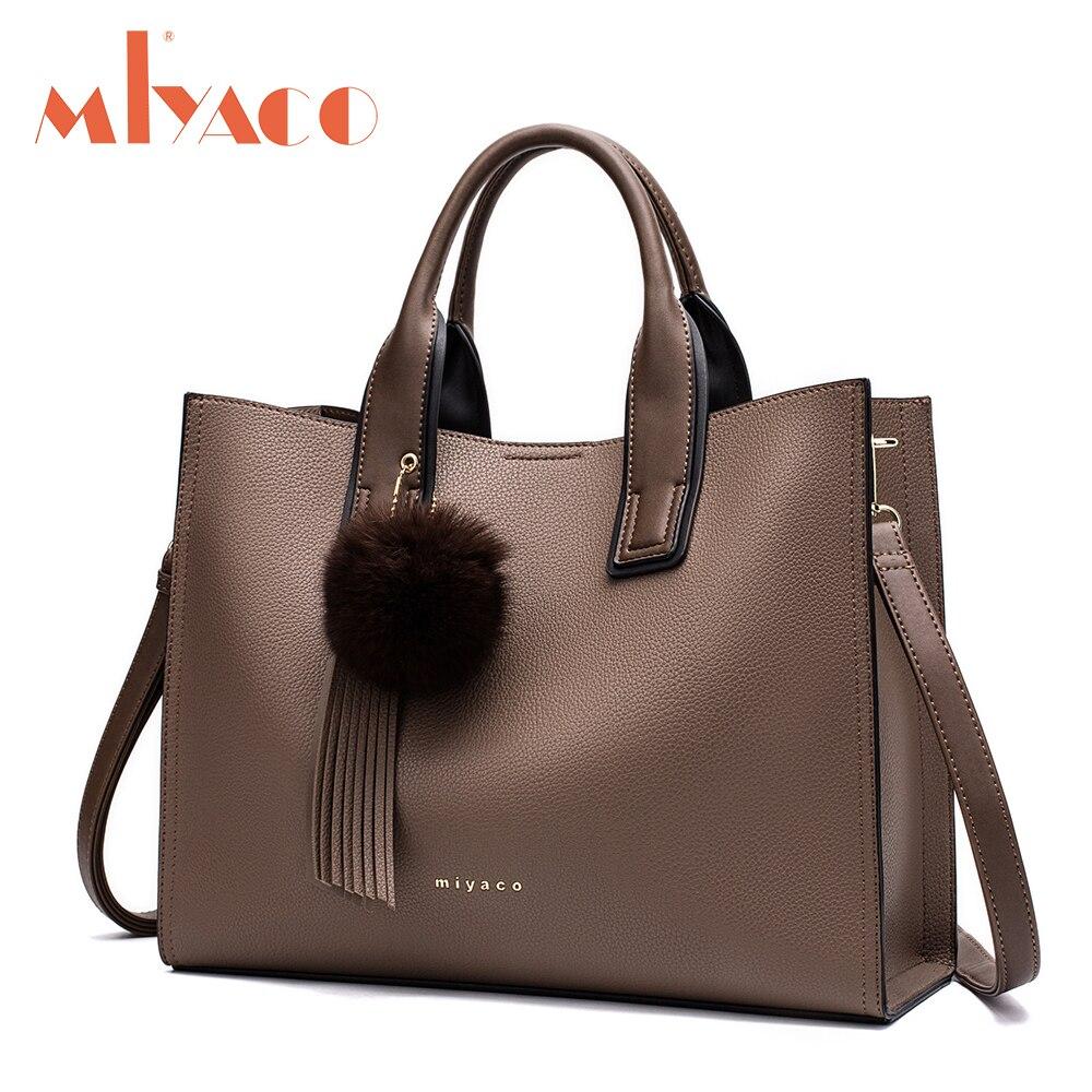Miyaco Women Leather <font><b>Handbags</b></font> Casual Brown <font><b>Tote</b></font> bags Crossbody Bag TOP-handle bag With Tassel and fluffy ball