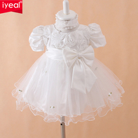 IYEAL New 2017 Summer Brand Baby Girls Dress Bow Girls Wedding Dresses Infant baby tutu girl party dress White Red Free Shipping