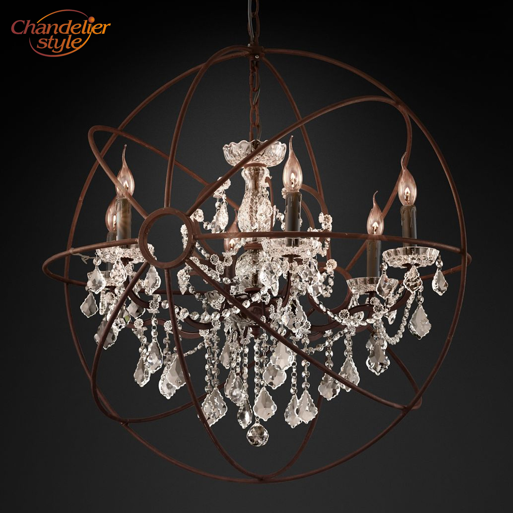 Image 4 - Foucaults Orb Clear Crystal Chandelier Lighting Rustic Candle Chandeliers LED Pendant Hanging Light for Living Dining Room-in Chandeliers from Lights & Lighting