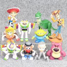 Hot 10pcs/lot Figure Toy Woody Buzz Lightyear Jessie Rex Lotso Mr Potato Head Little Green Men Spider Baby Toys Gift