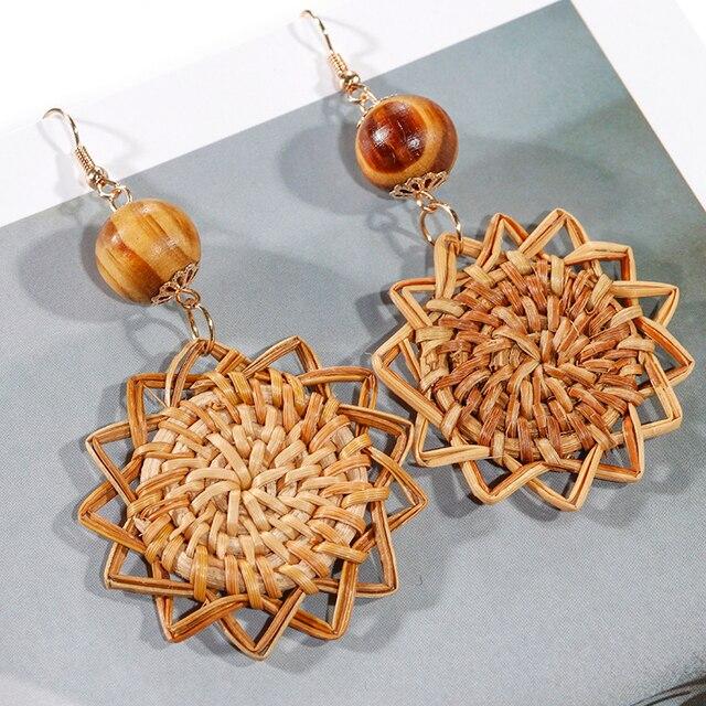 AENSOA Multiple 27 Style Korea Handmade Wooden Straw Weave Rattan Vine Braid Drop Earrings New Fashion Geometric Long Earrings 5
