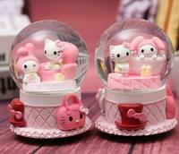 Choice 1PC Creative student gift with lamp snowflake crystal ball music box pink lovers KK cat rotating water ball pieces