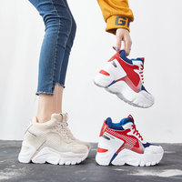 SWYIVY Quality Shoes Women Red Sneakers Platform Summer Shoes Casual Female 2019 Spring Autumn New Chunky Wedge Sneakers Woman