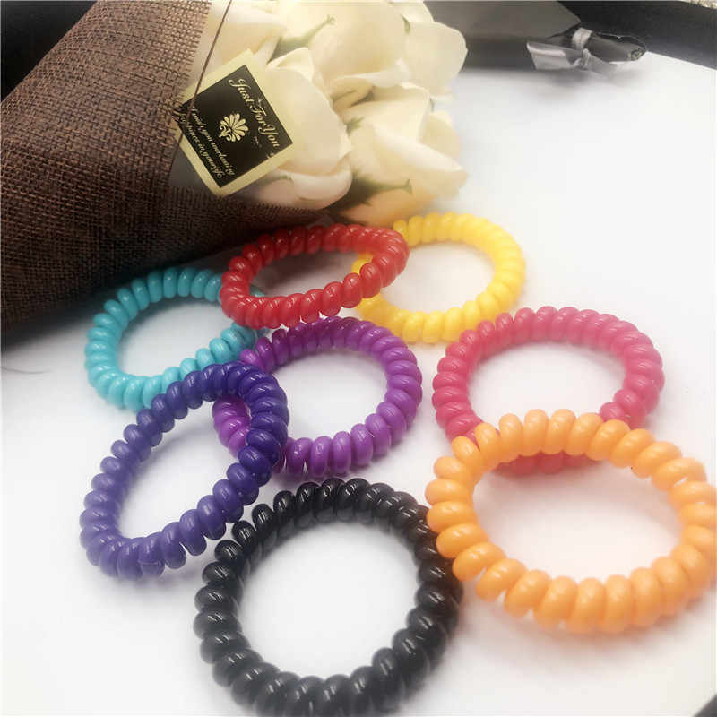 Elastic Hair Bands Spiral Shape Ponytail Hair Ties Gum Rubber Band Hair Rope Telephone Wire Hair Accessories