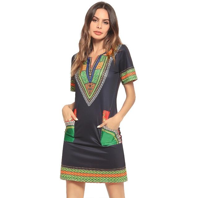 Dashiki Fashion New Small V-Neck Pocket Printed Dress for Women Africa Nation 2018 Europe and America Style Dashiki Dresses 3