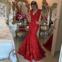 Sexy V-ausschnitt Mermaid Appliques Spitze Abend Prom Kleider Perlen perlen Formale Frau Party Kleider Abendkleider longo EP53