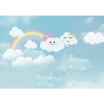 Vinyl Blue Sky White Cloud Backdrop for Newborn Photography Baby Shower Props Rainbow Kids Birthday Party Photo Background