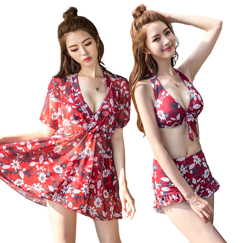 High Quality Women's Swimsuit Sexy Three Pieces Swimwear Set Push Up Swim Wear Print with Cover Ups Bathing Suit Plus Size M-2XL 2017 women sexy one piece swim suits high quality womens swimwear thong bikini set for girls swimsuit bathing suit cover ups