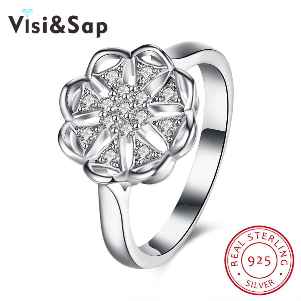 Visisap Romantic hollow Flowers rings for women Solid 925 Sterling silver wedding jewelry brilliant CZ Ring VSVR144